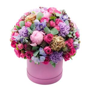 """Цветы в коробке """"Розовая фантазия"""""""